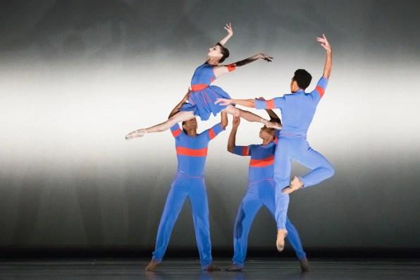 "Maria Kochetkova and ensemble in Benjamin Millepied's ""The Chairman Dances."" Photograph by Karolina Kuras"