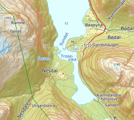 The settlements Bødal and Nesdal by the southern parts of the lake Lovatn.