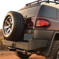 Body Armor 4x4 FJ-2961Black - Steel Rear Bumper for Toyota 2007-2013 FJ Cruiser