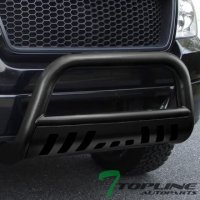 Topline Autopart Hammered Black HD Heavyduty Bull Bar Brush Push Front Bumper Grill Grille Guard w/ Skin Plate 07-14 Toyota FJ Cruiser