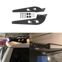 "52"" Inch Straight Curved Light Bar Bracket Fit 2007-2014 Toyota FJ Cruiser, Partol Steel Metal Upper Roof Windshield LED Light Bar Mounting Brackets - Pair, Black"
