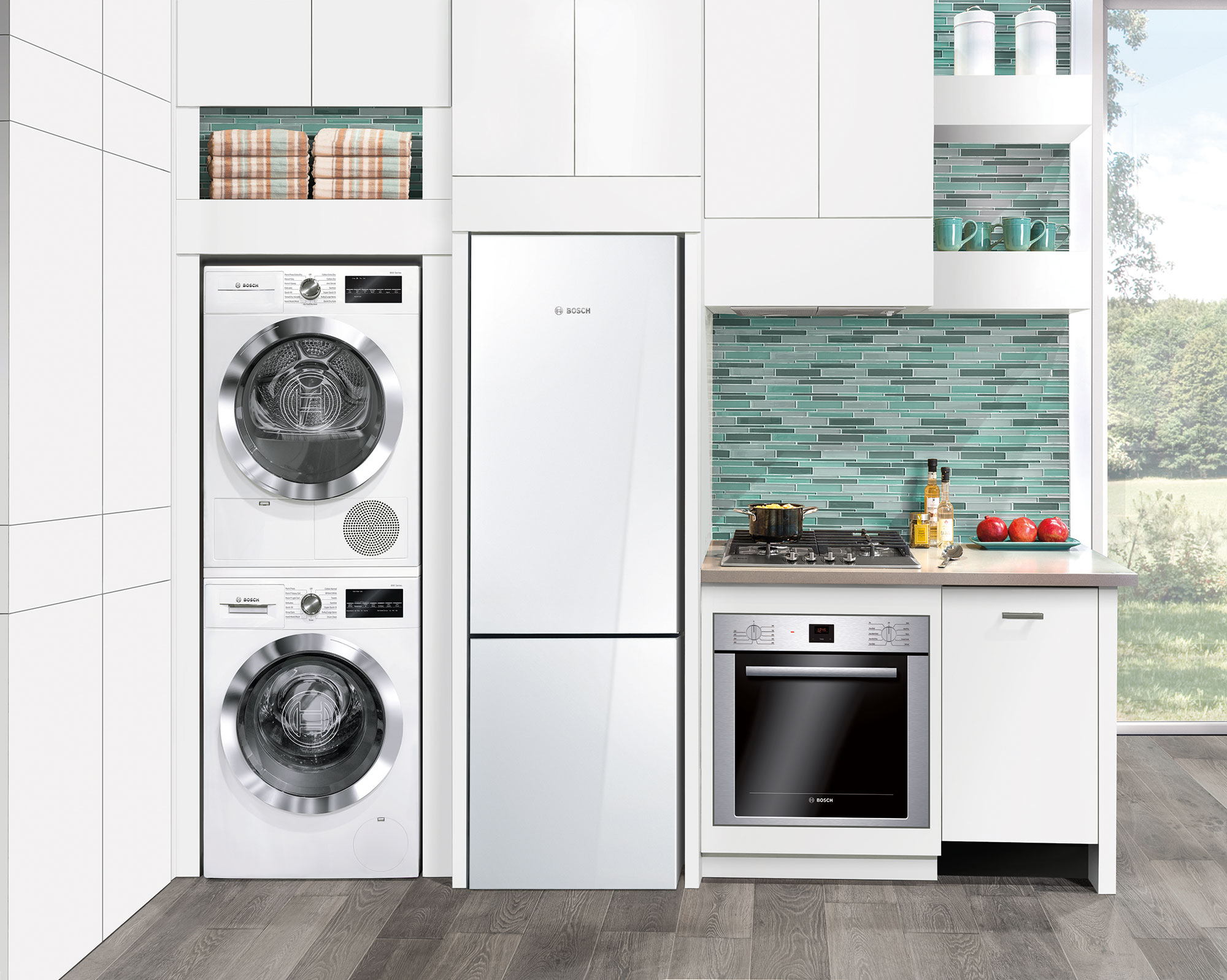 stackable washer dryer set in kitchen