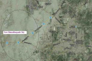 Satellite Map Muzaffargarh city & New Muzaffargarh City location