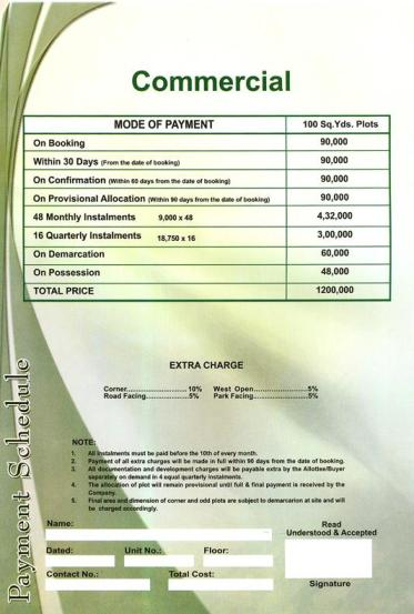 Saima Green Valley Karachi (Payment Schedule commercial plots 100 yards)