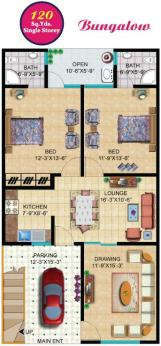 Rainbow Sweet Homes - 120 Sq Yards (Single Storey) Bungalow internal Plan