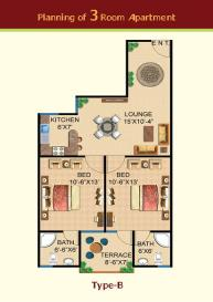 Al baraka Tower 3 Room apartment internal drawing