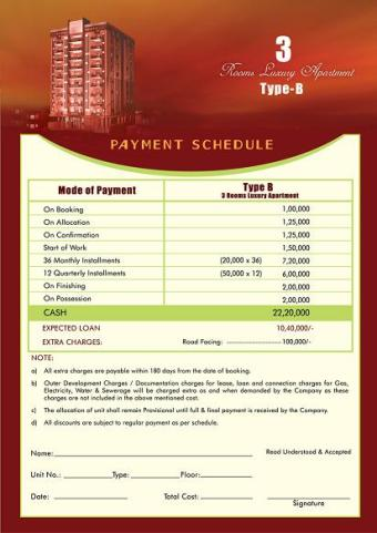 Payment Plan AlBaraka Tower Typr B apartment 3 rooms