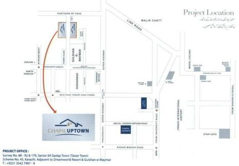 Chapal Uptown housing project Karachi - Location Plan or Map