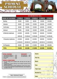elite town lahore payment price plan commercial