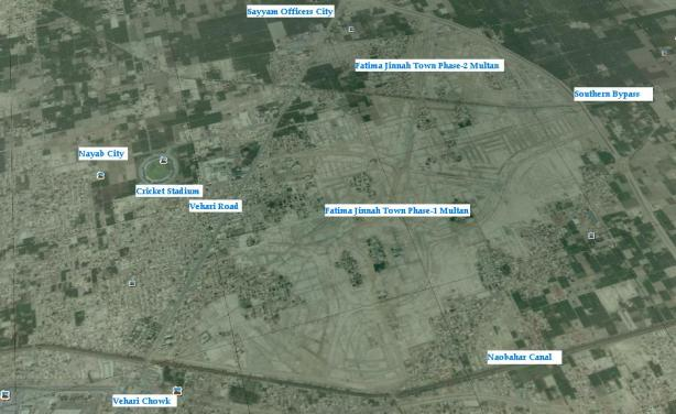 Satellite Map of Fatima Jinnah Town Multan
