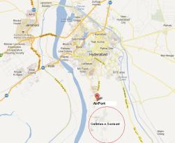 Gulistan e Sarmast Housing Scheme Hyderabad - Location Map with Hyderabad City