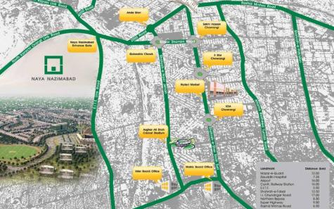 Naya Nazimabad Karachi Parkview Apartments Location Map