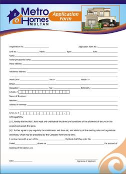 Metro Homes Multan - Application Form