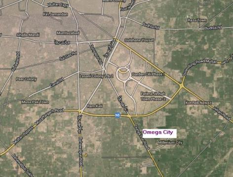 Satellite Location Map of Omega City Multan