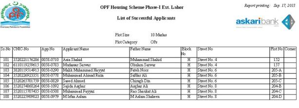 Balloting Result OPF Housing Scheme Phase 1 Ext Lahore - 10 Marla OPs e