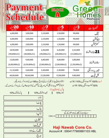 Green Homes Peshawar - Payment Schedule Block A