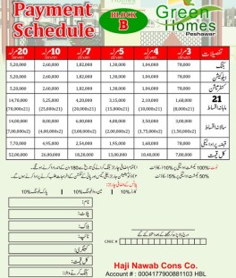 Green Homes Peshawar - Payment Schedule Block B
