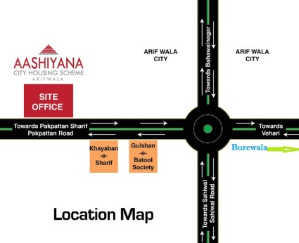 Aashiyana City Housing Scheme Arifwala - Location Map