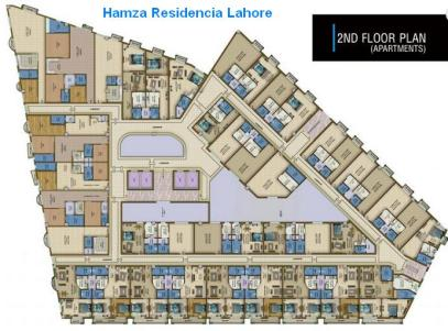Hamza Residencia Lahore Apartments - Second Floor Layout Plan