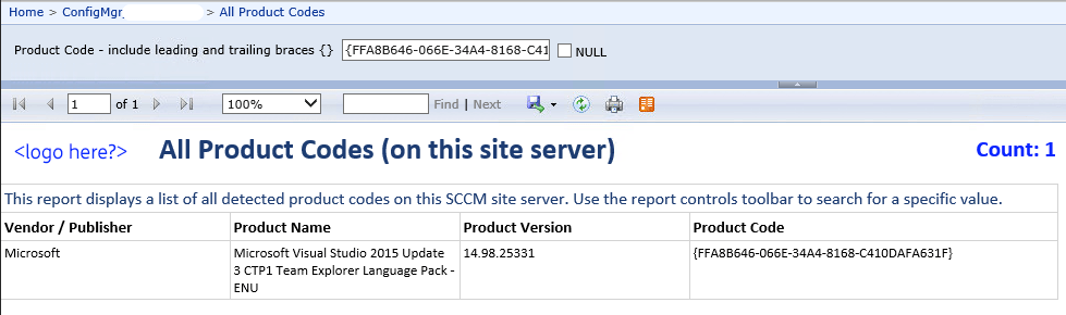 SCCM Report for All Product Codes on a Site Server - fkylewright com