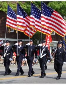 American flags in Parade