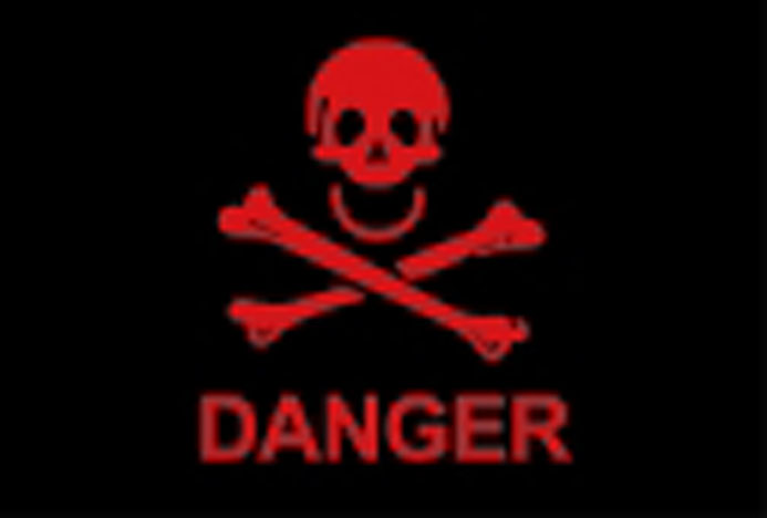 Danger skull and crossbones flag 5x3ft