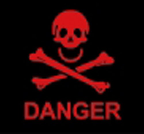 Danger skull and crossbones flag 5x3ft