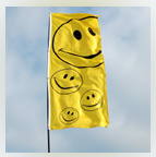 Smiley face Banner flag 8ft x 3ft