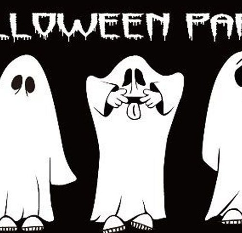 Halloween party ghosts flag 5x3ft