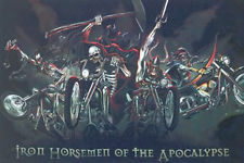 Skull style Iron horsemen of the apocalypse flag 5ft x 3ft