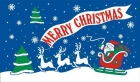 merry christmas flag in blue 5ft x 3ft