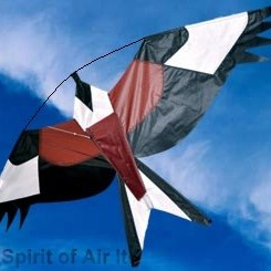 Red kite, realistic kite, bird scarer crop protector , fly from a telescopic flag pole as a windsock