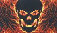 Skull with fire flag - 5ft x 3ft