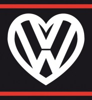 VW flag with heart logo BLACK GTi style 5ft x 3ft