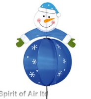 Snowman ball spinner BLUE windmill great for garden , Christmas or camping