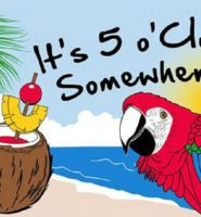 It's five o'clock somewhere parrot flag
