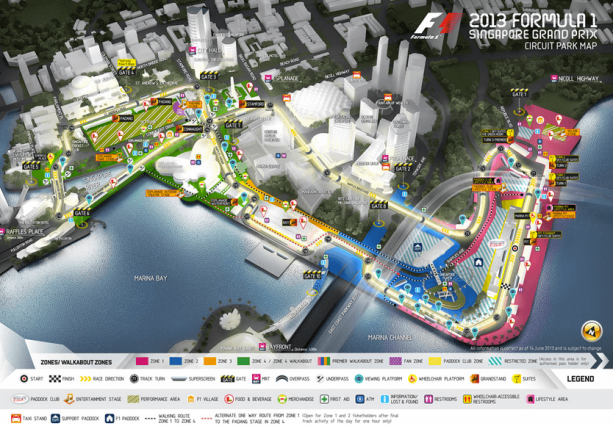 F1 Singapore Map Marina Bay Circuit