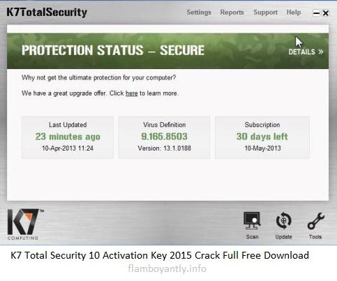 K7 Total Security 10 Activation Key 2015 Crack Full Free Download