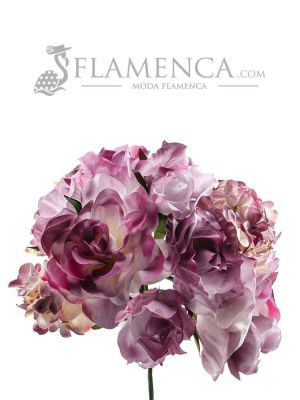 Ramillete de flamenca en tonos malva