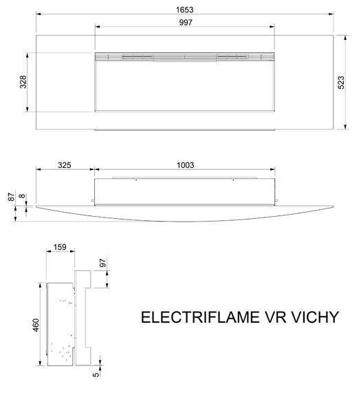 Celsi Electriflame VR Vichy Electric Fire Dimensions