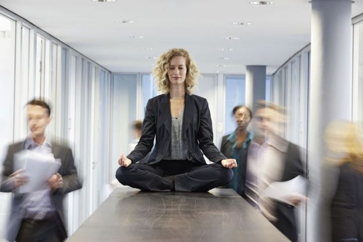Calming yoga at the work place