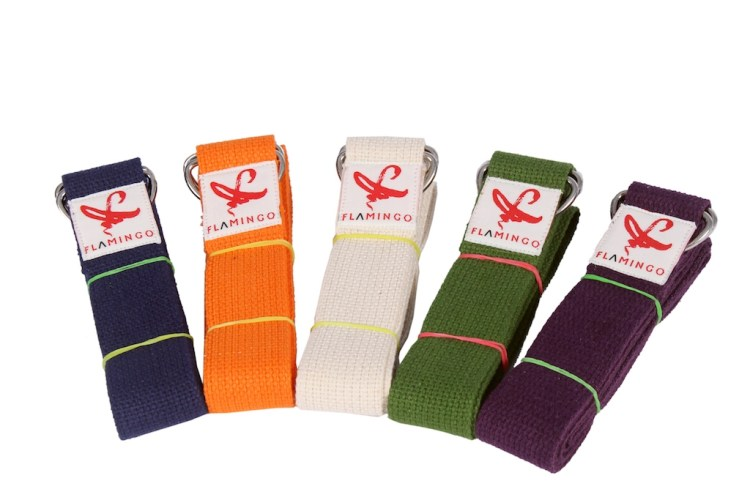 5 different colored yoga straps from Flamingo yoga e-boutique