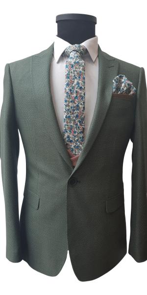 Costum Office Verde cu Vesta Bej Inchis FLG023