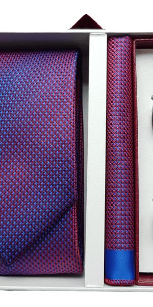 Set Cravata Batista si Butoni Rosu FLG044