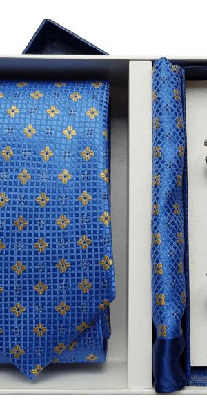 Set Cravata Batista si Butoni Albastru Deschis FLG048