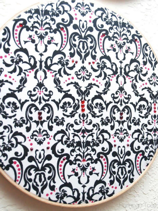 Rhinestone embellished hoop art
