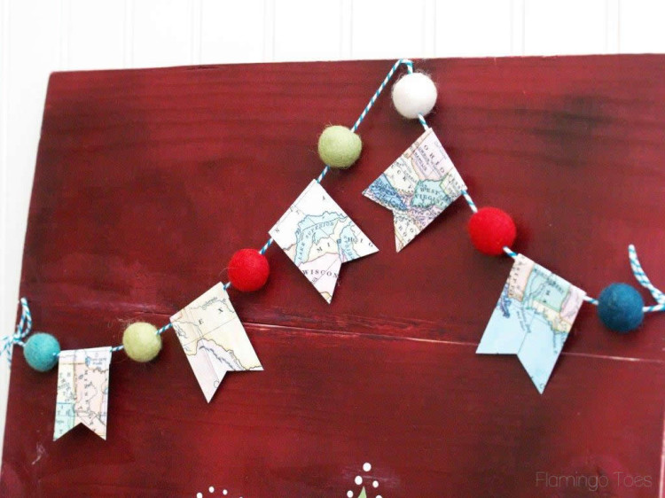 Pom Pom and Map Bunting