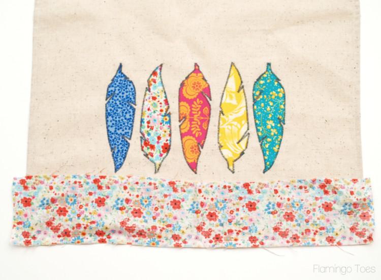 fabric trim on dishtowel