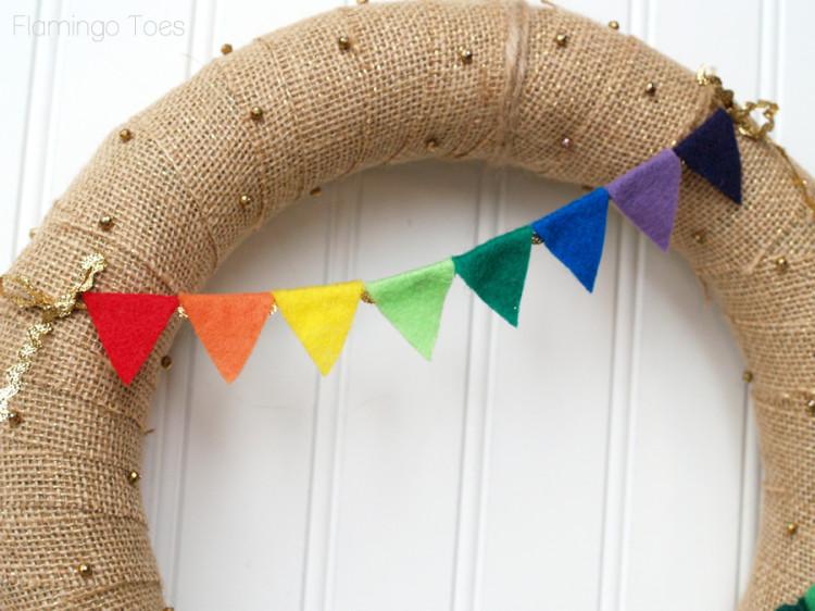 rainbow pennant for wreath