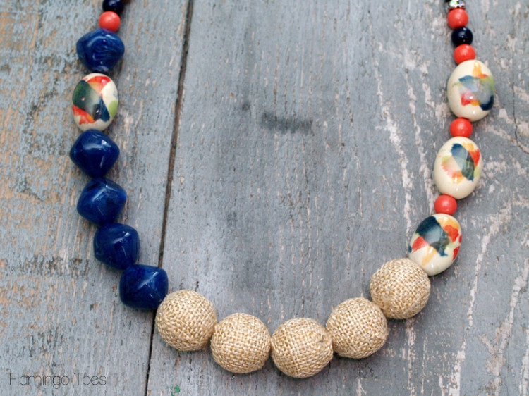 Burlap and Watercolor Bead Necklace